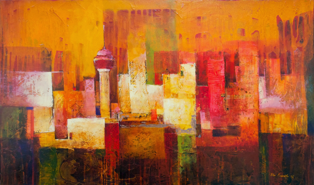 """Sounds of the City"" Mixed Media on Canvas on Board 30""x49"""