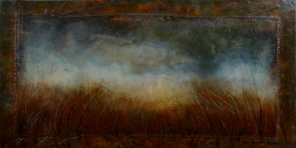 """Field in Dreams"" Mixed Media on Linen on Canvas 24""x48"""